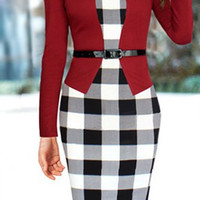 Red Plaid Long Sleeve Bodycon Midi Dress with Belt
