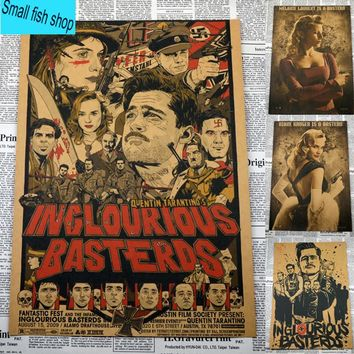 Inglourious Basterds Quentin Tarantino Classic movies Home Furnishing decoration Kraft Movie Poster Drawing core Wall stickers