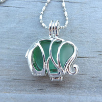 Green Sea Glass Elephant Locket
