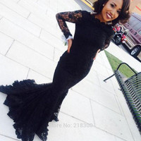 Black Lace Long Sleeve Mermaid Prom Dresses