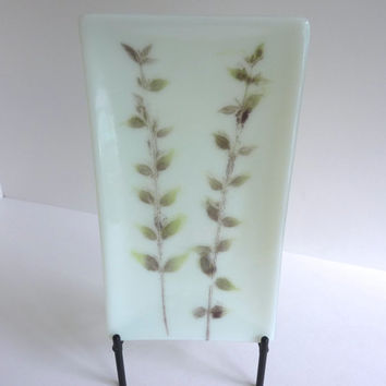 Fossil Vitra Fused Glass Platter in Pale Chalk Green