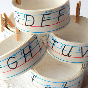 Vintage Sticker Tape. Paper Ephemera. Alphabet Sticker. Paper Tape. Washi Tape. School Supply. Gift Wrap. Letter Sticker. Scrapbook Sticker.