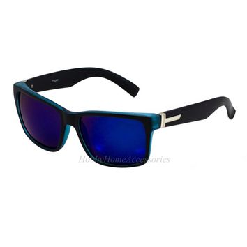 2-PAIR Oversized Square Frame Retro Large Men Matte Black Blue Mirror Sunglasses
