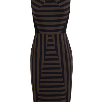 Roland Mouret Striped Panel Crepe Dress