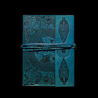 5 x 7 Dyed Blue Leather Journal Diary Sacred Symbols Design 272 Blank Pages Handmade Sketchbook with Brass Latch