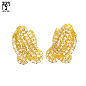 Jewelry Kay style Men's Iced Out Gold Plated Micro Pave Pray Hand CZ Screw Back Earrings SHS 479 G