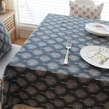 Pastoral Tablecloths Cotton & Linen Table Cloth Tree Leaf Printed Rectangular Table Cover Lace Edge Tablecloth for Home Banquet