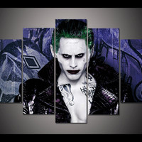 Free shipping Joker Hypnotic Stare Suicide Squad 5 Panel Wall Art