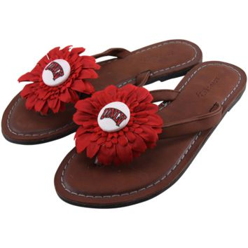 UNLV Rebels Womens Daisy Flower Sandals - Brown
