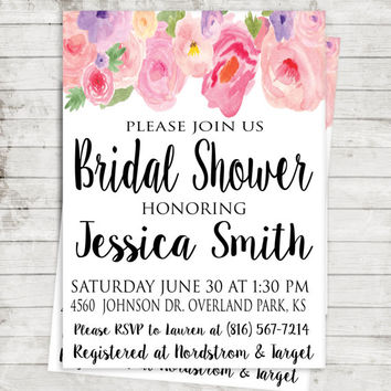 Bridal Shower Invitation - Bridal Party Decor - Bridal Invitation - Wedding Decor - Watercolor Invitation - Bridal Shower