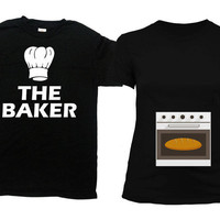 Couples T Shirt Baby Announcement Pregnancy Reveal Maternity Gifts For Expecting Mothers Dad To Be TShirt Baker Bun In The Oven - 801-802