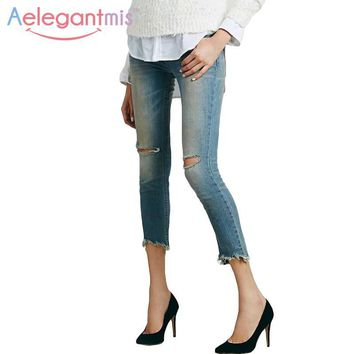 Aelegantmis Fashion High Waist Cropped Ripped Pencil Jeans Women Destroyed Slim Skinny Denim Pants Ladies Ankle-length Spring