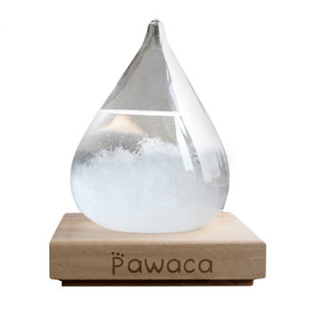 Transparent Crystal Water Drop Weather Forecast Bottle Storm Glass Liquid Wood Base