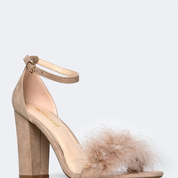 Ankle Strap Feather Sandal