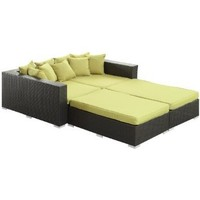 LexMod Palisades Outdoor Wicker Patio Daybed 4 Piece Set in Espresso with Peridot Cushions: Patio, Lawn & Garden