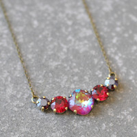 Tennis Necklace Swarovski Crystal Ruby Rainbow Ruby Garnet Rhinestone Bar Necklace Mashugana