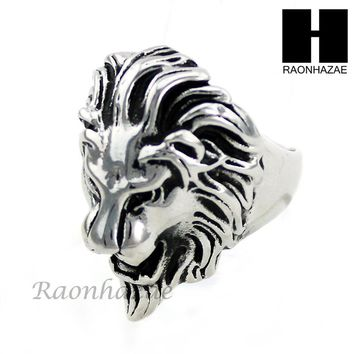 MEN STAINLESS STEEL ANTIQUE SILVER TONE LION FACE RING 8-12 SR035CL
