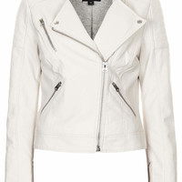 Collarless Faux Leather Biker Jacket