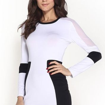 White Patchwork Grenadine Bodycon Homecoming Party Skinny Dress