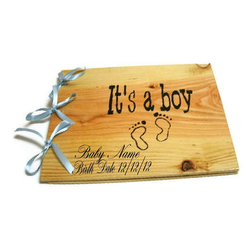 "Wooden Personalized Baby Boy Book - Shower Guest Book - Its A Boy, 10""x12"""
