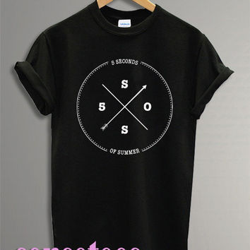 5 seconds of summer shirt 5 sos shirt tshirt t-shirt tee shirt printed black and white color unisex size