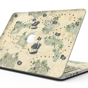The Vintage Map of Pirate Islands - MacBook Pro with Retina Display Full-Coverage Skin Kit