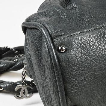"Chanel $2995 ""Dark Gray"" Quilted Leather ""Large Lady Braid"" Shoulder Bag"