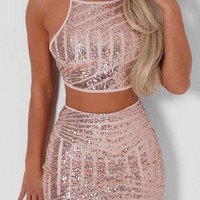 Abby Rose Gold Sequin Crop Top and Mini Skirt Set | Pink Boutique