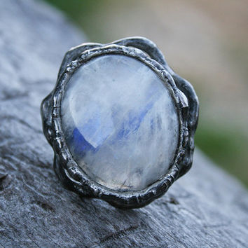moonstone ring, statement ring, gemstone ring, romantic ring, nostalgic ring, huge romantic ring, organic ring, tiffany method, flashy ring