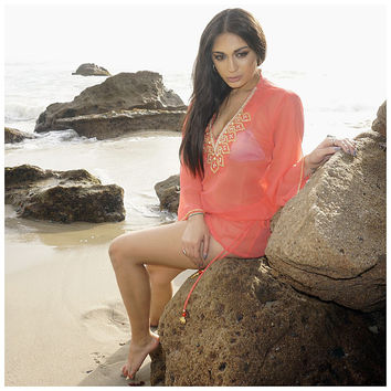 Beach Glam Coral and Gold Silk Beaded Caftan