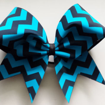 Black and turquoise chevron cheer bow