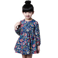 2-8 Ages Girls Dress Casual Long Sleeves Flower Princess Girl Dresses Summer Autumn 2016 Toddler Girl Clothing