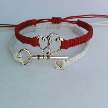 His and Hers Key To My Heart Bracelets Set of 2 You Choose Color