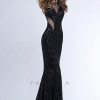Faviana 7331 - Black/Black Sequin Mermaid Prom Dresses Online