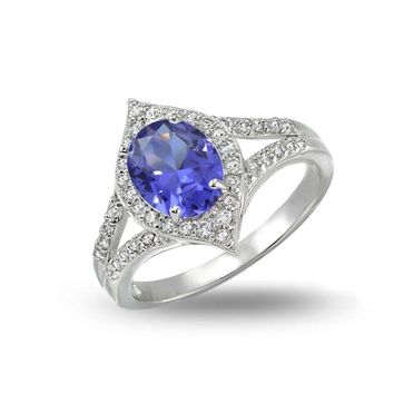 Simulated Tanzanite and Cubic Zirconia Oval Fashion Split Shank Ring