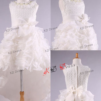20% OFF!!! High-Low Organza Skirt Princess Scoop Neck Ivory Lace  Flower Girl Dress Toddler Birthday Party Dress with Sash/Bow