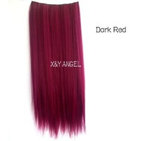 X&Y ANGEL-One Piece Straight Synthetic Thick Hair Extension Clip-on Hairpieces (wine red)