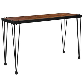 Baldwin Collection Wood Grain Finish Console Table with Metal Legs