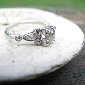 Lovely Art Deco Platinum Diamond Engagement Ring  - approx .90 carats - Old Mine Cut Diamond - Large Center with Old Cut Marquise and Rounds