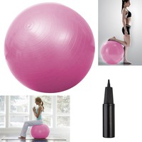"Yoga Ball 25"" 65cm Exercise Gymnastic Fitness Pilates Balance w/Air Pump Pink"
