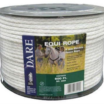 Dare 3094 Equi-Rope Poly Electric Fence Rope, 6 mm x 600', White