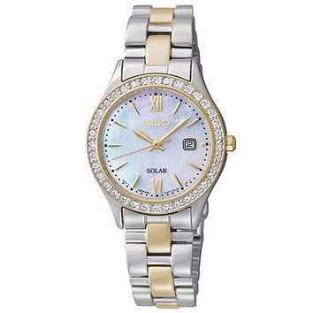Seiko Solar Womens Crystal Watch - Mother of Pearl Dial - Two-Tone