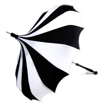 Black and White Pinwheel Bella Pagoda Umbrella - Pagoda Rain Umbrellas - Umbrellas.net