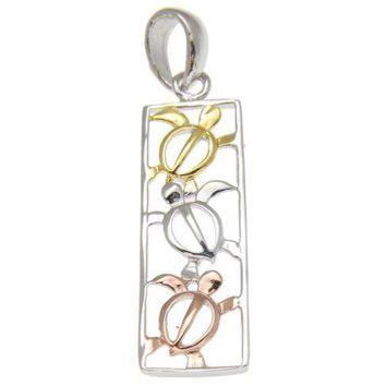 YELLOW ROSE GOLD ON SILVER 925 TRICOLOR HAWAIIAN HONU TURTLE VERTICAL PENDANT