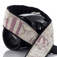 dSLR Camera Strap, Hot Air Balloon,Dusty Lilac, Nautical, Old World Map, Pocket, Canon camera strap, Nikon camera strap, Mirrorless, 225