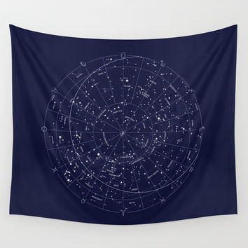 Constellation Map Indigo Wall Tapestry by Merlin