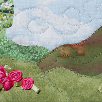Fabric Postcard Hot Pink Flowers Quilted Landscape Handmade Greeting Card Postcard Art Landscape Art Outdoor Nature Postcard