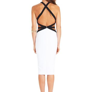 White/Black Crawford Bodycon Dress : Buy Designer Dresses Online at Nookie