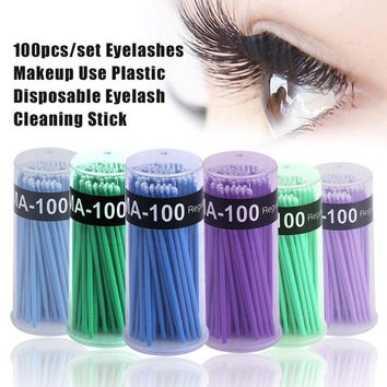 100pcs/set Professional Eyelashes Makeup Use Plastic Disposable Eyelash Cleaning Stick Cleaning Brush Stick Cotton Swabs