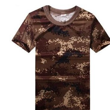 tactical military t-shirt men training clothes  07 camouflage T shirt breathable mesh training suit military clothing